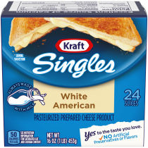 Kraft Singles White American Cheese Slices, 16 oz (24 slices)