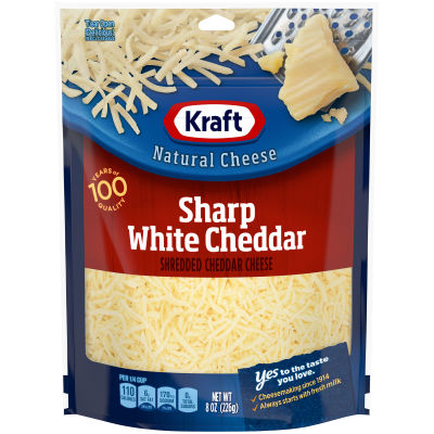 Kraft Sharp White Cheddar Shredded Natural Cheese 8 oz Pouch