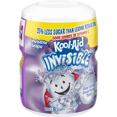 Kool-Aid Invisible Sugar-Sweetened Invisible Grape Powdered Soft Drink 19 oz Jar