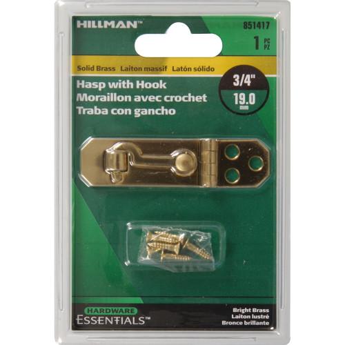 Hardware Essentials Solid Brass/Bright Brass Decorative Hasps With Hook 3/4