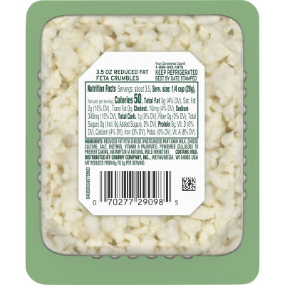 Athenos Crumbled Traditional Reduced Fat Feta Cheese 3.5 oz Blister Pack
