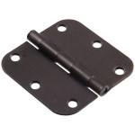 """Hardware Essentials 5/8"""" Round Corner Oil Rubbed Bronze Door Hinges (3-1/2"""")"""