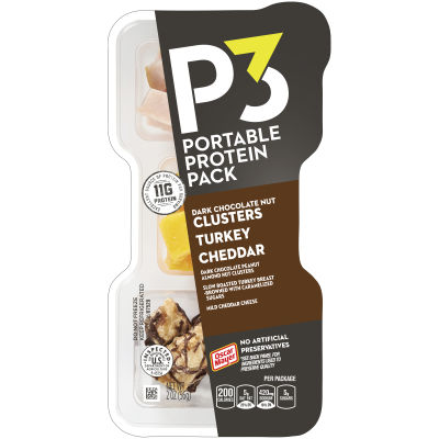 Oscar Mayer P3 Nut Clusters Dark Chocolate Peanut Almond Nut Clusters, Cheddar & Turkey Breast Portable protein Pack 2 oz Tray