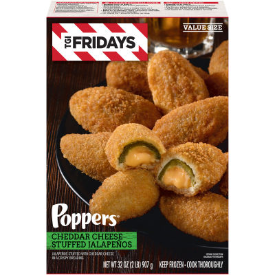 TGI Friday's Poppers Cheddar Cheese Stuffed Jalapenos 32 oz Box