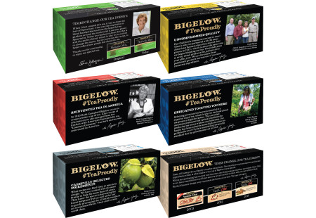 Tops of Mixed Case of 6 Boxes of a variety of Bigelow Black Teas
