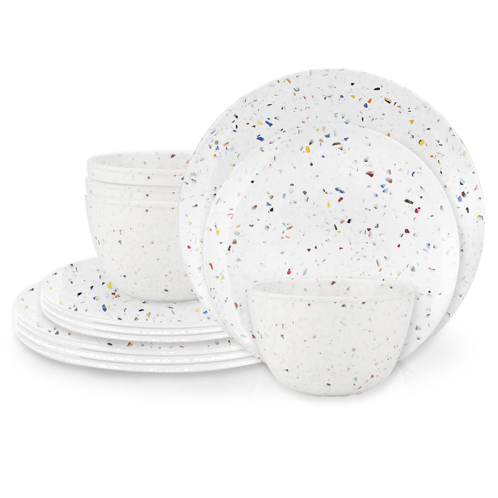 Confetti Dinnerware Set, White, 12-piece set slideshow image 2