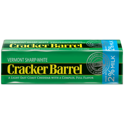 Cracker Barrel Vermont Sharp-White Cheddar Cheese Chunk Made with 2% Milk 8 oz Wrapper