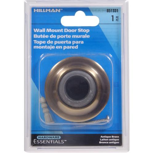 Hardware Essentials Wall Mount Door Stop Antique Brass 2-3/8