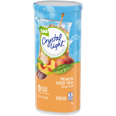 Crystal Light Peach Iced Tea Drink Mix, 6 count Canister