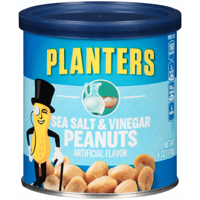 PLANTERS Sea Salt and Vinegar Peanuts 6 oz Can image
