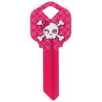 Pink Argyle Skull Key Blank