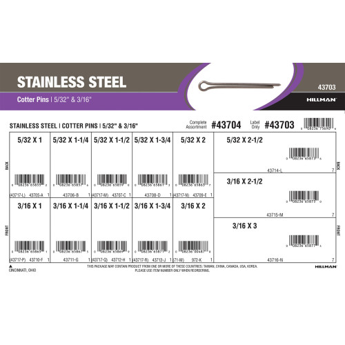 Stainless Steel Cotter Pins Assortment (5/32