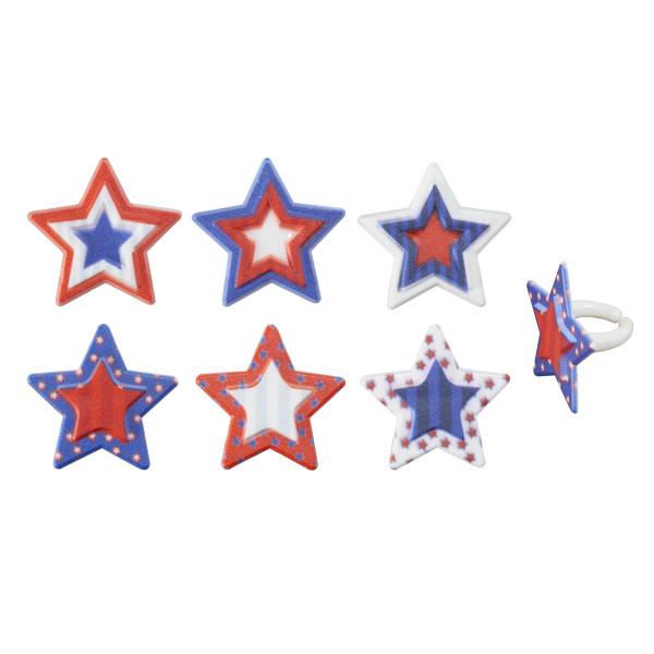 Printed Star Assortment Cupcake Rings