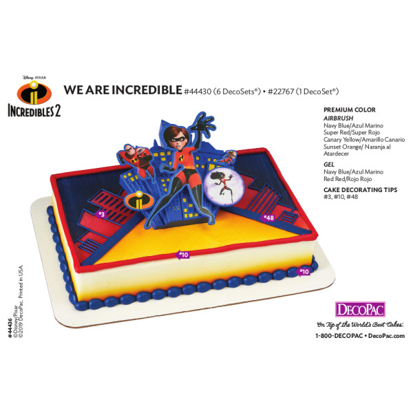 Incredibles 2 We are Incredible Cake Decorating Instruction Card