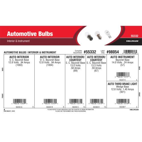 Automotive Bulbs Assortment (Interior & Instrument)
