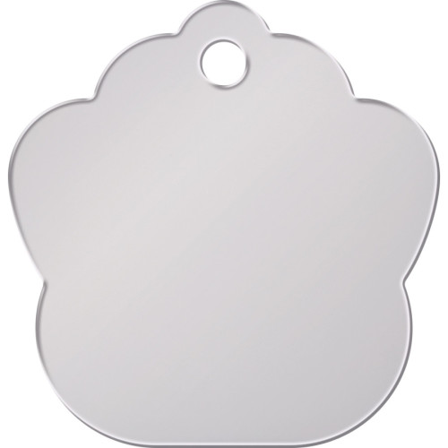 Chrome Large Paw Quick-Tag - Etched Center 5 Pack
