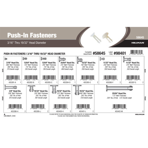 Push-In Fasteners Assortment (3/16