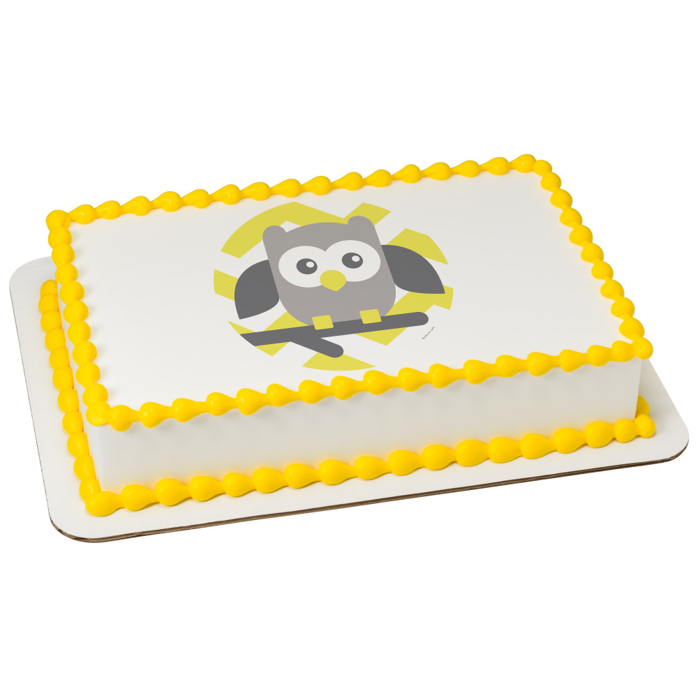 Baby Owl Yellow Chevron