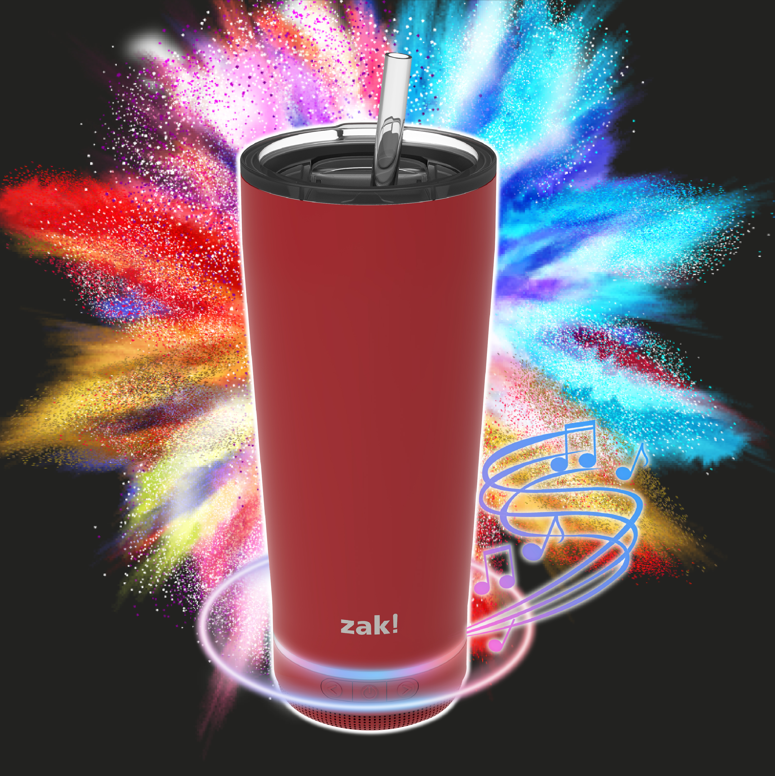 Zak Play 18 ounce Stainless Steel Tumbler with Bluetooth Speaker, Red slideshow image 12