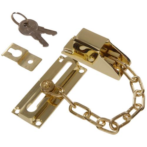 Hardware Essentials Keyed Lock Door Chain Brass