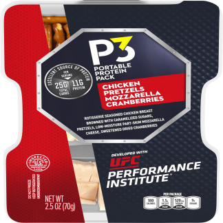 P3 Portable Protein Pack Developed With UFC Performance Institute Rotisserie Seasoned Chicken, Pretzels, Mozzarella Cheese, and Dried Cranberries 2.5 oz Tray