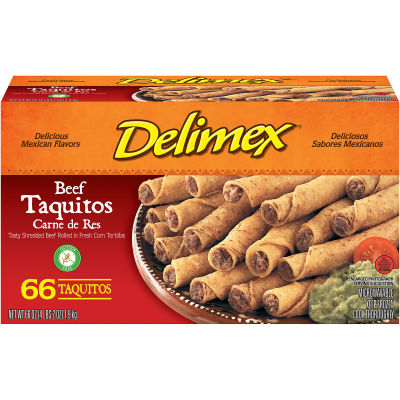 Delimex Beef Taquitos 66 count Box