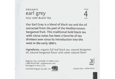 steep cafe by Bigelow organic full leaf earl grey black tea pyramid bag in overwrap - Ingredient list