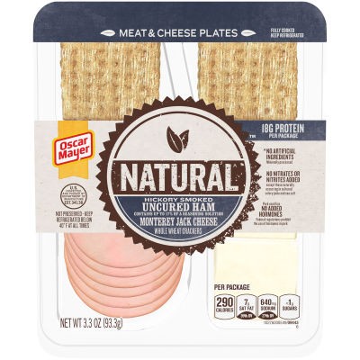Natural Hickory Smoked Uncured Ham, Monterey Jack Cheese & Whole Wheat Crackers 3.3 oz Tray