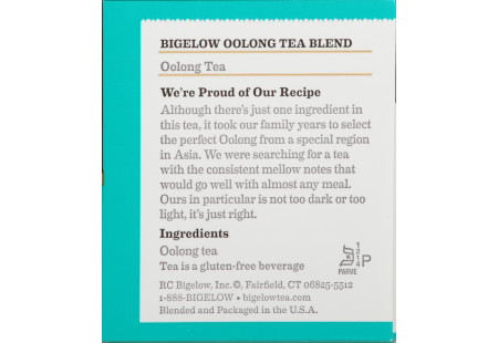 Ingredient panel  of Oolong Tea box