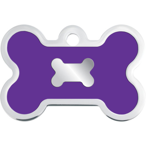 Chrome with Purple Epoxy Large Bone Quick-Tag 5 Pack