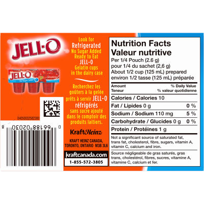 Jell-O Orange Jelly Powder Light, Gelatin Mix