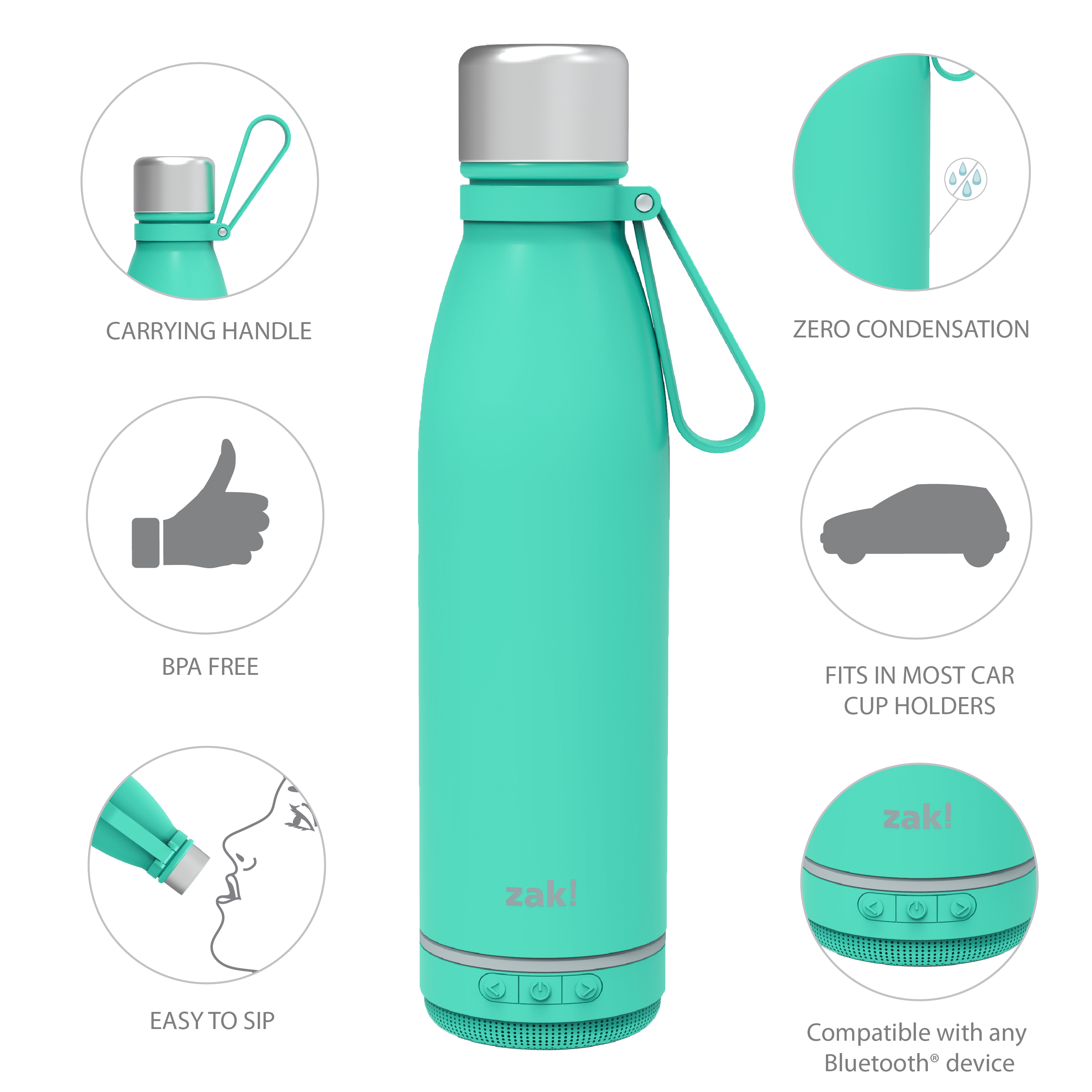 Zak Play 17.5 ounce Stainless Steel Tumbler with Bluetooth Speaker, Teal slideshow image 10