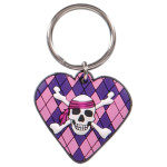Girly Skull & Argyle Heart Key Chain