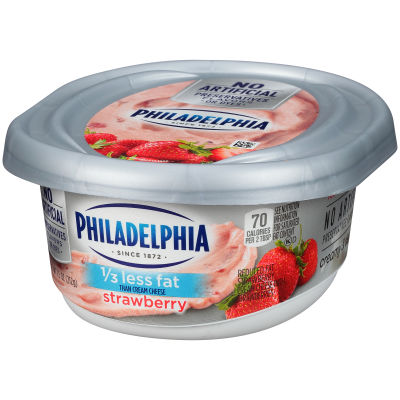 Philadelphia Strawberry 1/3 Less Fat Cream Cheese Spread 7.5 oz Tub