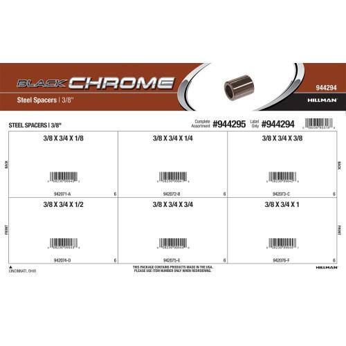Black Chrome Steel Spacers Assortment (3/8