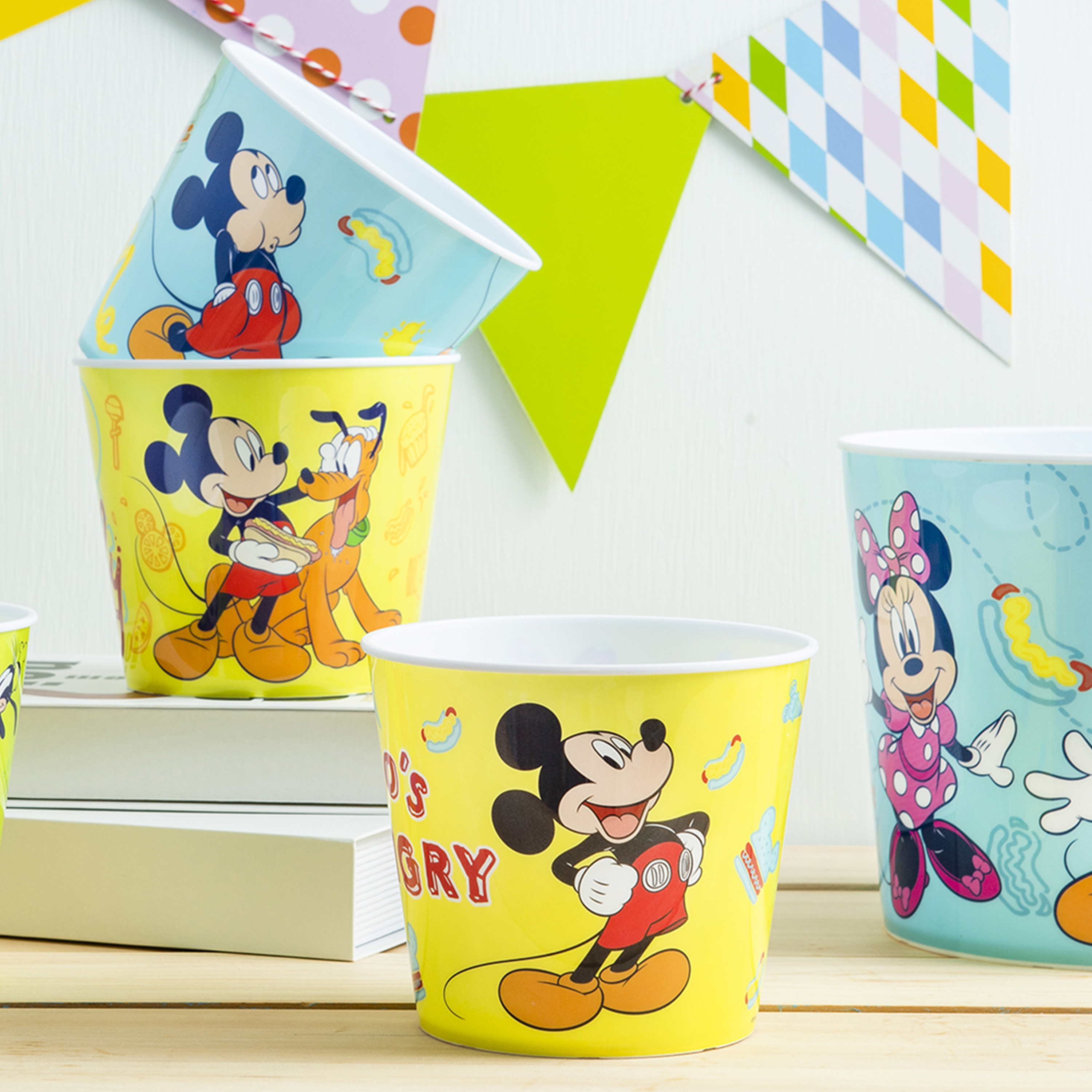 Disney Plastic Popcorn Container and Bowls, Mickey Mouse and Minnie Mouse, 5-piece set slideshow image 6