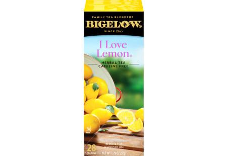 Left facing I Love Lemon Herbal Tea Box of 28 tea bags