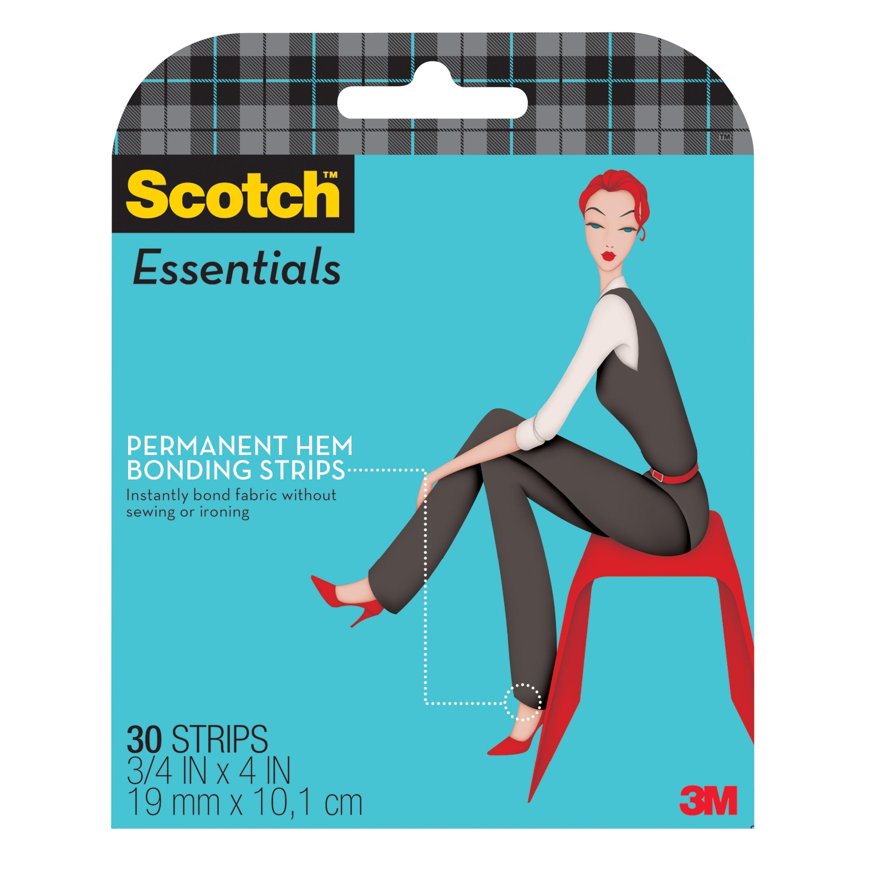 Scotch™ Essentials Permanent Hem Bonding Strips W-107-A, 3/4 in x 4 in (19 mm x 10,1 cm), 30 Strips/Pack
