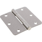 "Hardware Essentials Squeak-Proof 1/4"" Round Corner Satin Nickel Door Hinges (3-1/2"")"