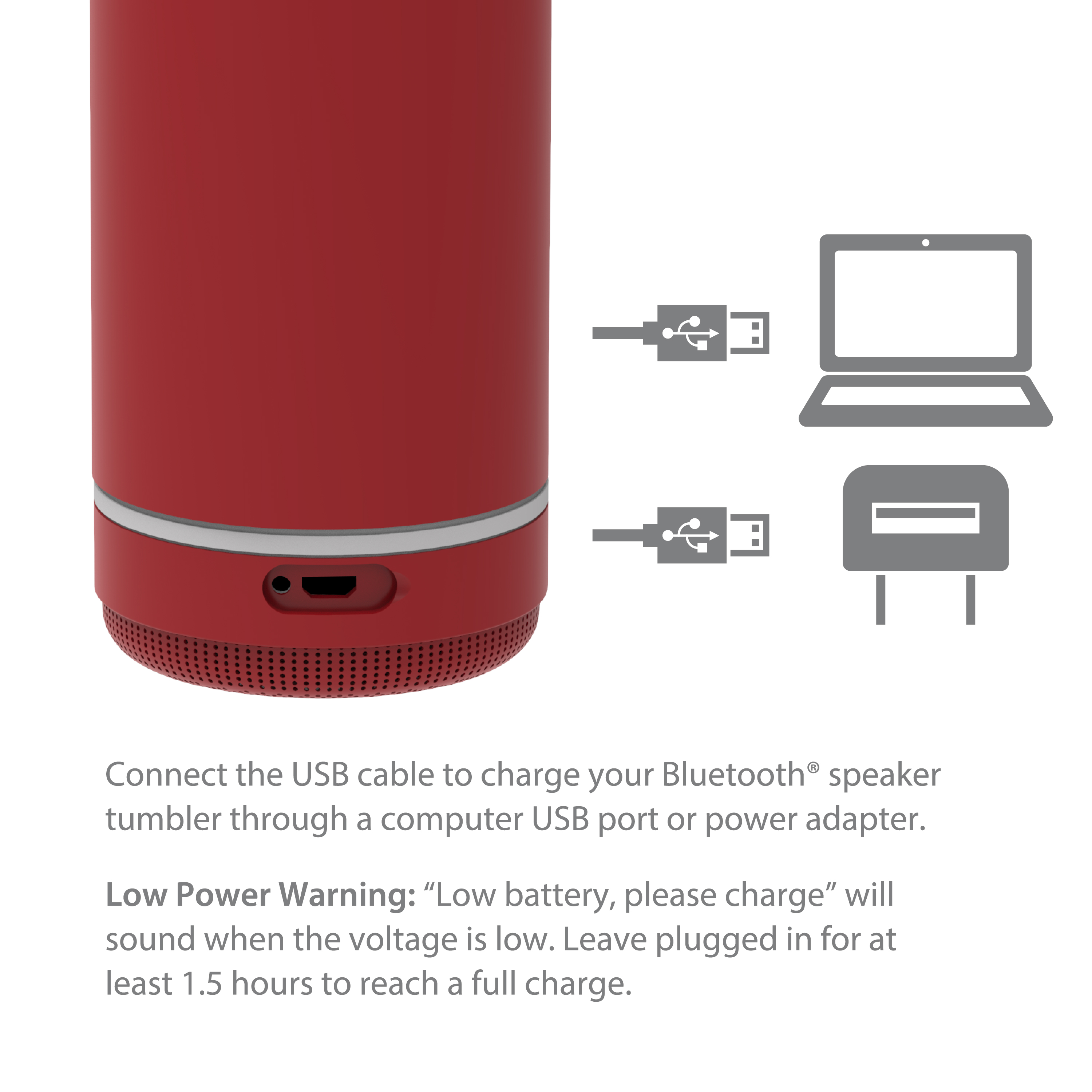 Zak Play 17.5 ounce Stainless Steel Tumbler with Bluetooth Speaker, Red slideshow image 7