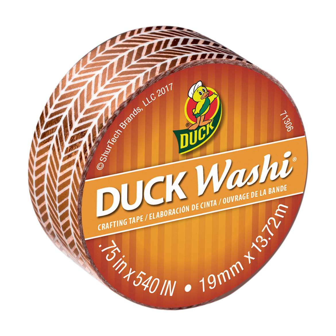 Duck Washi® Crafting Tape - Metallic Herringbone, 0.75 in. X 15 yd. Image