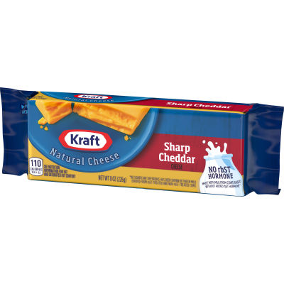 Kraft Sharp Cheddar Natural Cheese 8 oz Wrapper