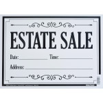 "Estate Sale White Sign, 10"" x 14"""