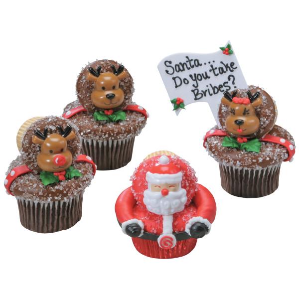 Jolly Santa & Reindeer Cupcake Rings