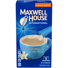 Maxwell House International Latte French Vanilla Coffee 5 - 0.68 oz Sticks