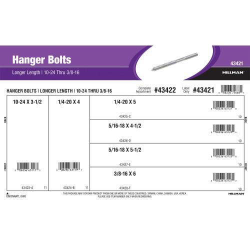Longer Length Hanger Bolts Assortment (#10-24 thru 3/8