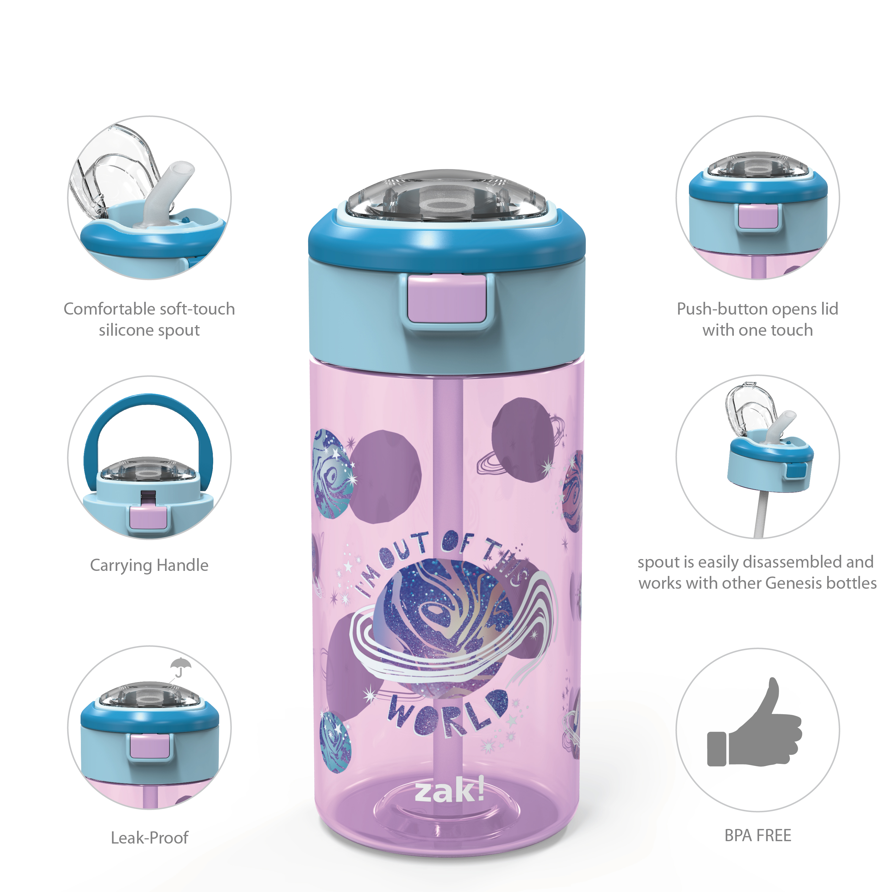 Genesis 18 ounce Water Bottles, Planet, 2-piece set slideshow image 9