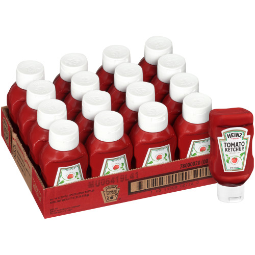 HEINZ Ketchup, 14 oz. FOREVER FULL Inverted Bottles (Pack of 16)