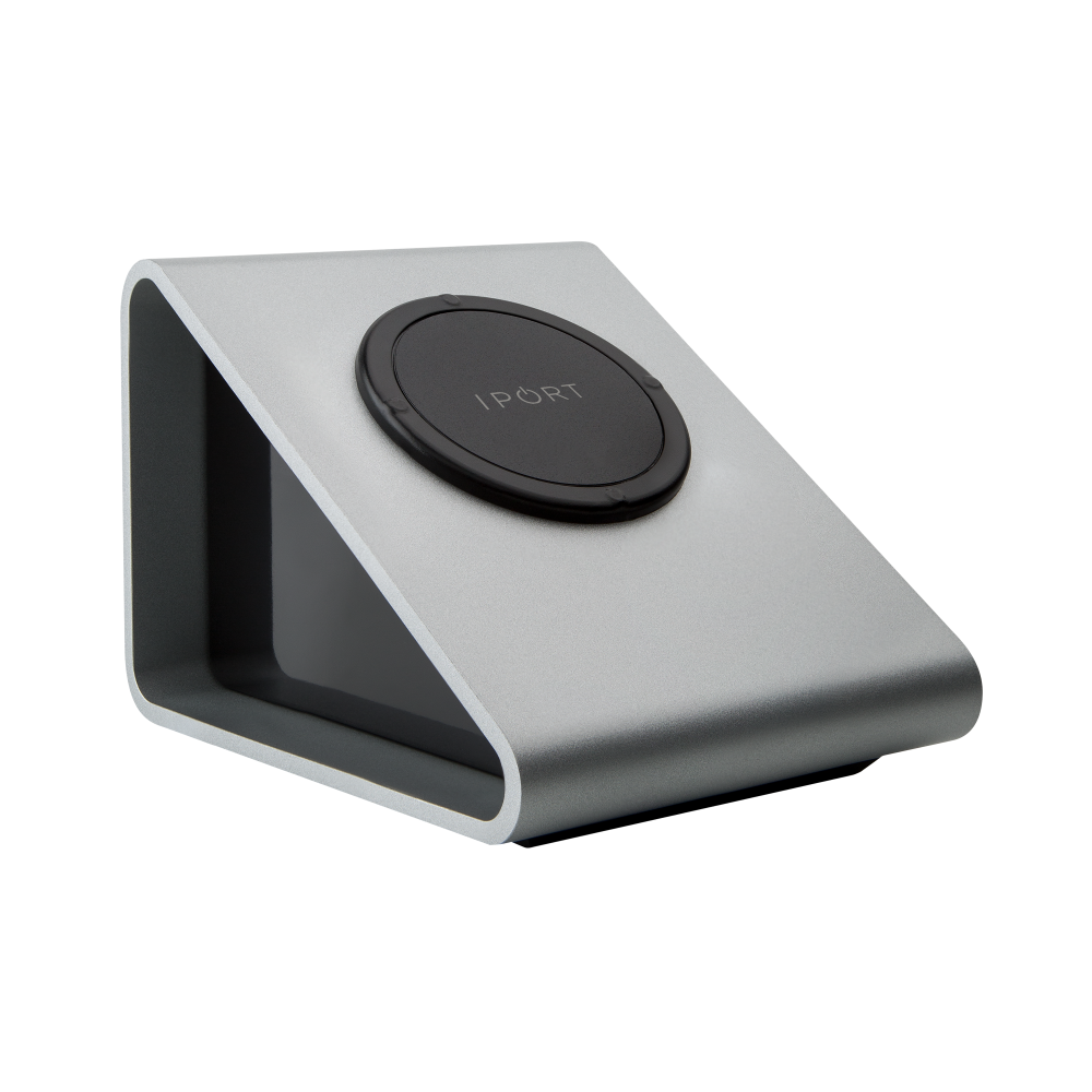 IPORT LAUNCH BaseStation, the silver iPad charging station and magnetic mount by IPORT.
