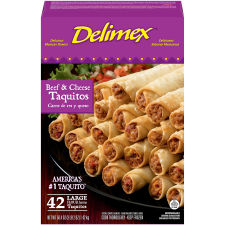 Delimex Beef & Cheese Large Flour Taquitos 42 count Box